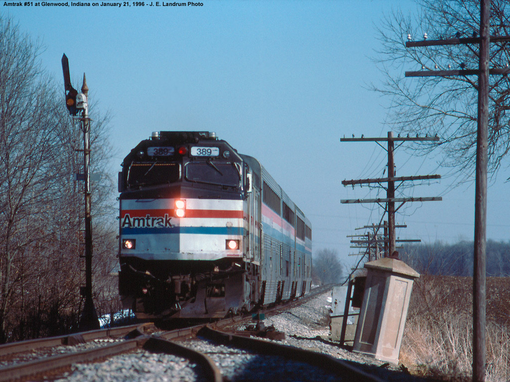 Amtrak #51 running very late passes a semaphore at Glenwood, Indiana.